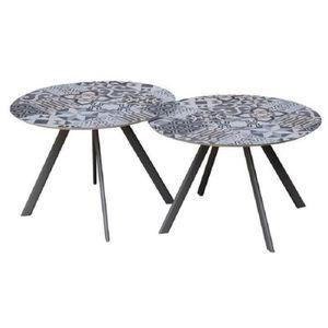 TABLE DE JARDIN  Lot de 2 tables rondes base en métal avec plateau