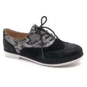 Chaussure Mode Derbies Oxford BCBG /él/égant Femme Verni /élastique Talon Bloc 3 CM Angkorly