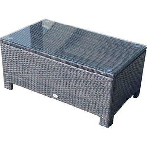 TABLE BASSE Table basse de jardin plateau verre trempé 5 mm ro