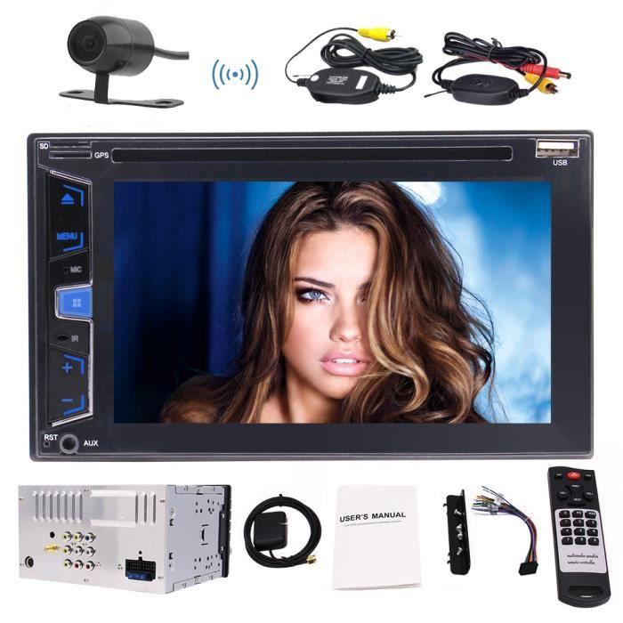 Eincar 6,2 pouces stéréo GPS Autoradio Bluetooth Radio En Dash 2 Double Din Car CD DVD Lecteur USB SD support AM FM RDS 7 Touches de
