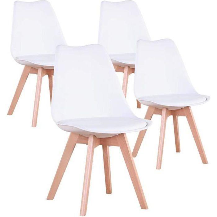 Lot de 4 Chaises Scandinaves Blanches Lorenzo Chaise de salle à Manger Design en Similicuir et Bois Massif