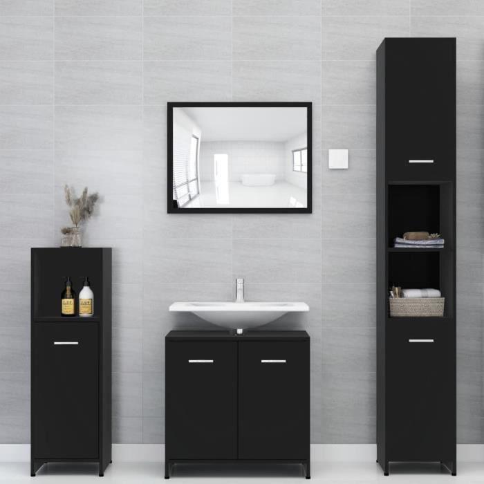 Ensemble de SALLE DE BAIN COMPLETE Ensemble de meubles de salle de bain Contemporain Noir Aggloméré#92628