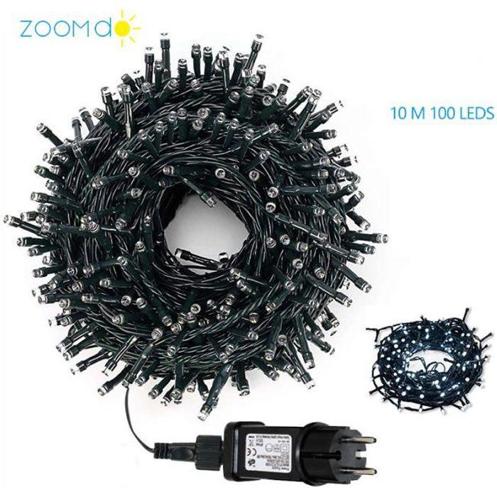 Guirlande Lumineuse Décorative 10M 100 LED sur Câble , Etanche Lumineuse , Pour Noël Sapin Chambre Jardin Fêtes Mariage – Blanc