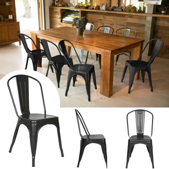 LAIZERE® Lot de 8 Chaises design industriel Noir, Métal Chaises