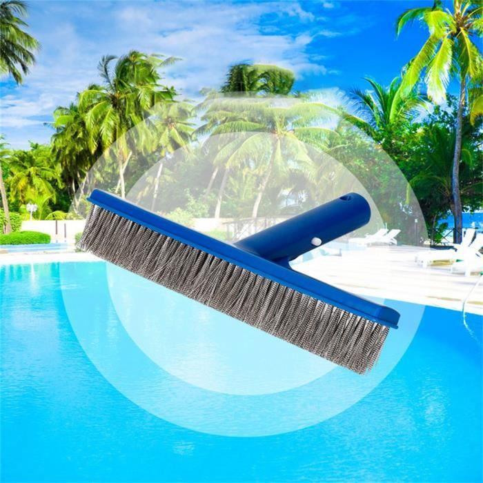 Articles de natation Brosse de nettoyage pour piscine Brosse de 10 po pour piscine et spa aux algues avec poils en acier