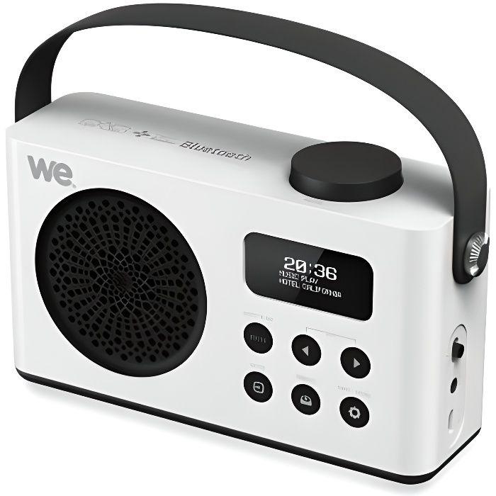 Réveil - - WE Radio Réveil Connecté Portable DAB DAB+ FM Enceinte Bluetooth Batterie Rechargeable Lecteur USB Micro SD - Blanc