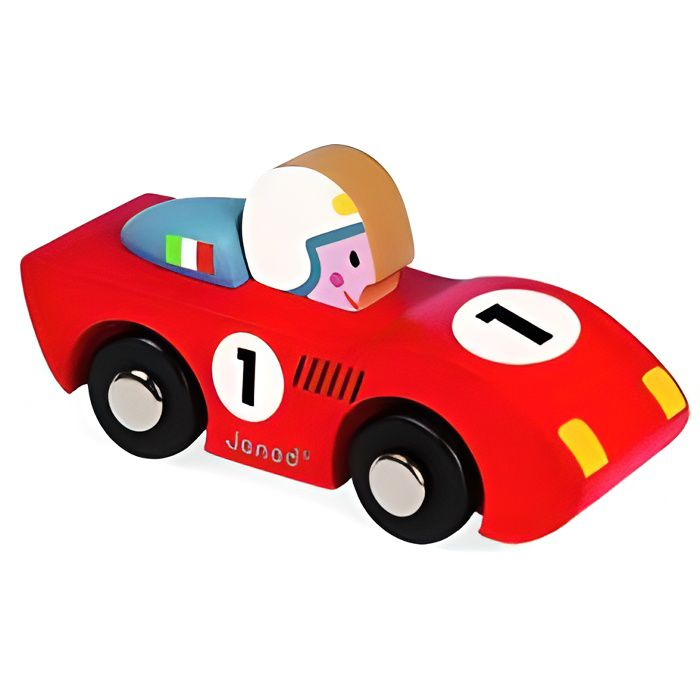 Petite voiture en bois Janod Story Racing. Rouge.