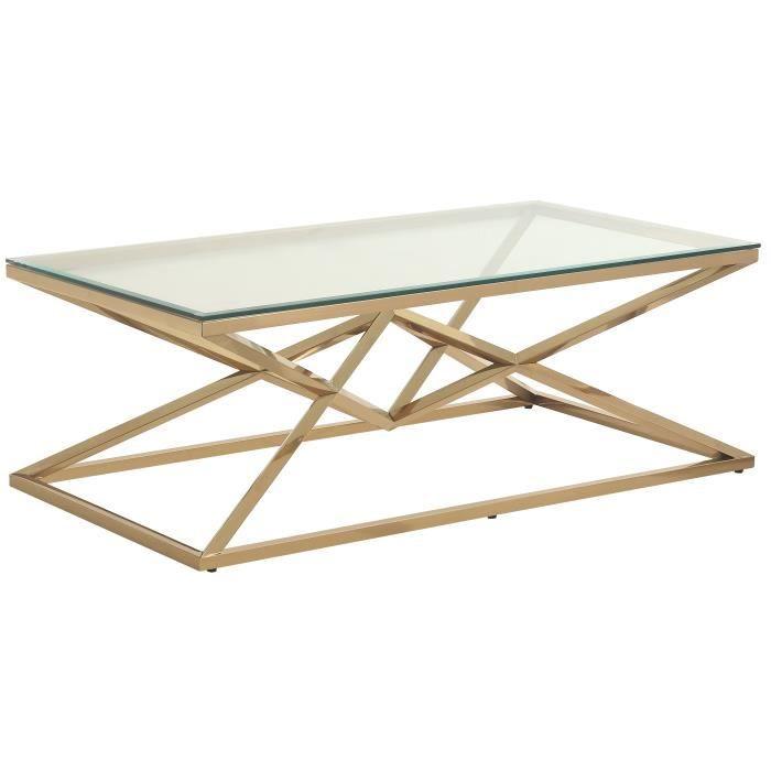 Table basse design en acier inoxydable poli doré et plateau en verre trempé transparent L. 120 x P. 65 x H. 45 cm collection PARMA