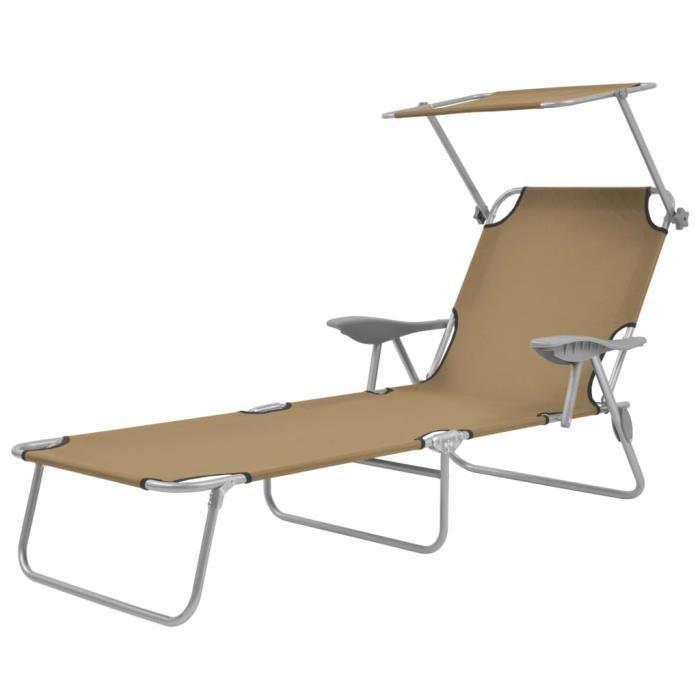 Haute qualité -Chaise longue Bain de soleil contemporain - Chaise de Repose pliable avec auvent Acier Taupe #11750