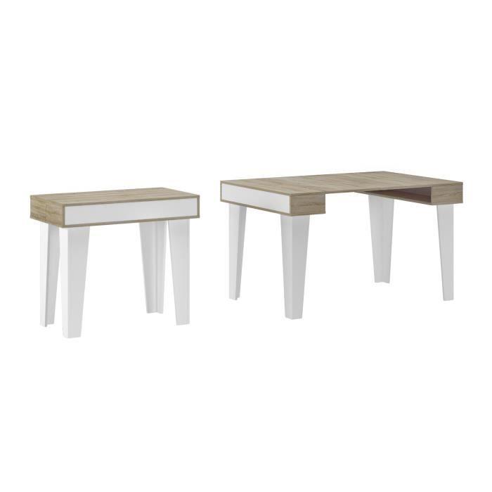 Skraut Home - Table Console extensible, rectangulaire avec rallonges, Nordic KL jusqu'à 140 cm, Style Scandinave pour salle à manger