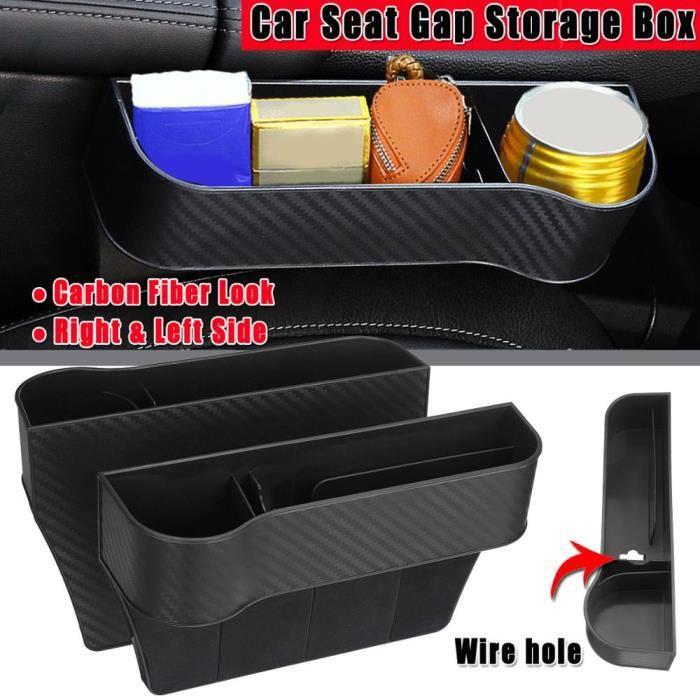 Rangement,Côté conducteur de voiture ABS siège en plastique espace boîte de rangement organisateur de poche - Type CarbonBlack Pair