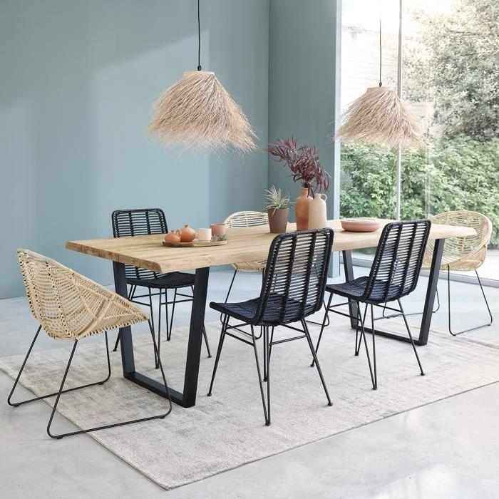 Table en bois de teck recyclé et métal 10 personnes BOIS DESSUS BOIS DESSOUS