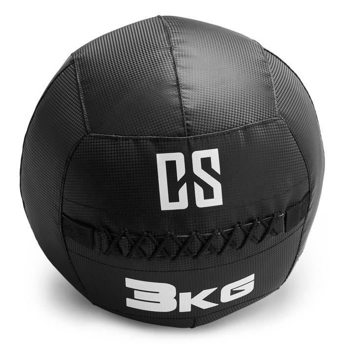 CAPITAL SPORTS Bravor Medecine ball Wallball PVC Double couture 3kg - noir