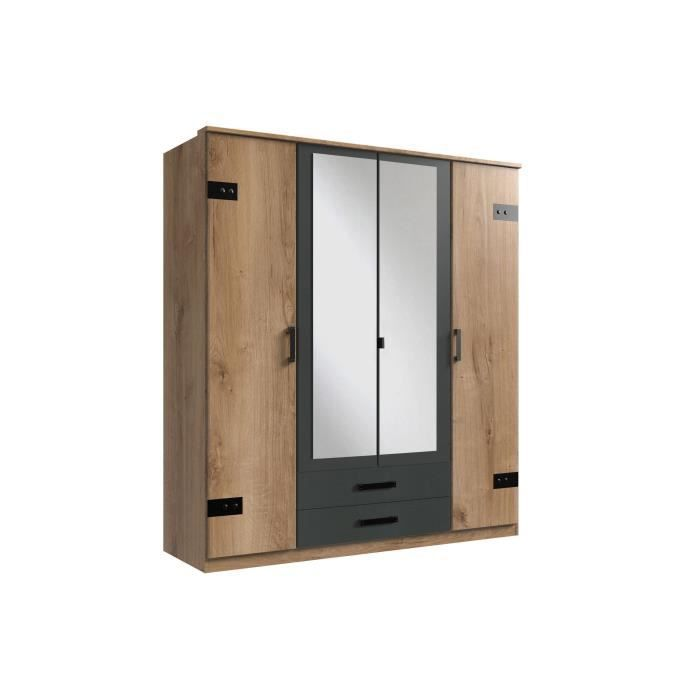 Armoire - Décor chêne et graphite - 4 portes et 2 tiroirs - Style Industriel - Chambre - L 180 cm - CORK