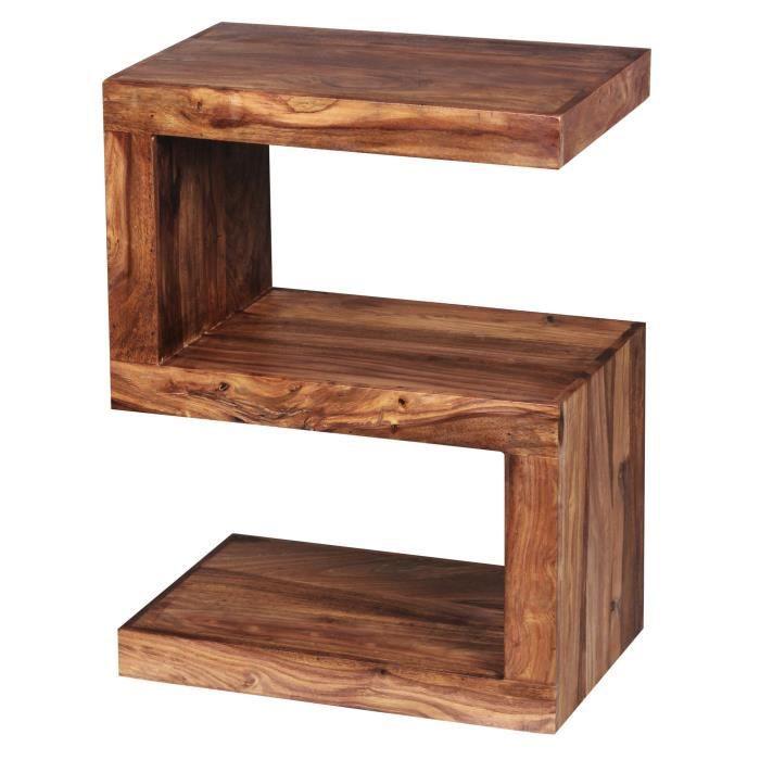 FineBuy Table d'appoint Bois Massif 44x60x30cm Bout de canapé Table de Salon [Sheesham]