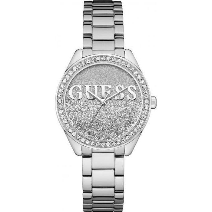 montre guess glitter girl w0987l1 - montre acier brillant cristaux femme
