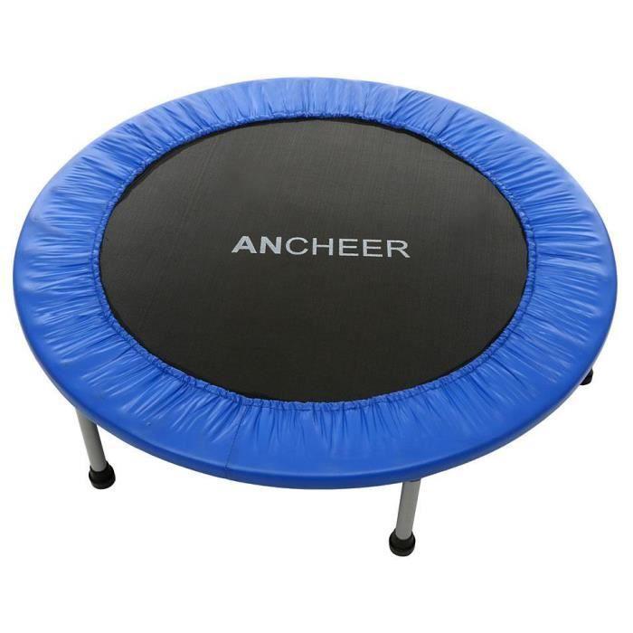 ANCHEER Trampoline fitness pliant rond Ø 96cm bleu sans filet , Trampoline de jardin , Qualité PRO