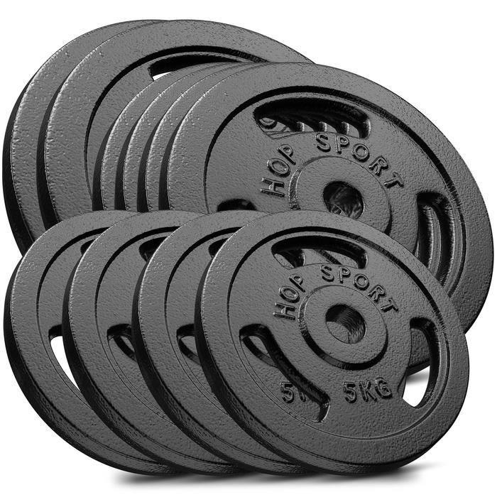 HS Hop-sport Disques en Fonte 90kg (2x15kg, 4x10kg, 4x5kg) SET AAF