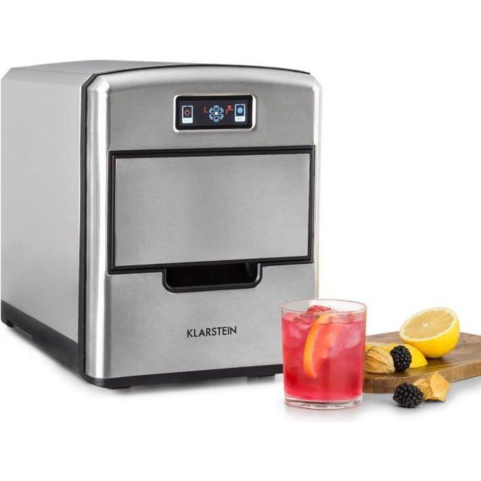 Klarstein Metropolitan Machine à glaçons 12 kg-24 h - 3 tailles de cubes de glace - Réservoir 2,15l - Ecran LCD numérique - Argent