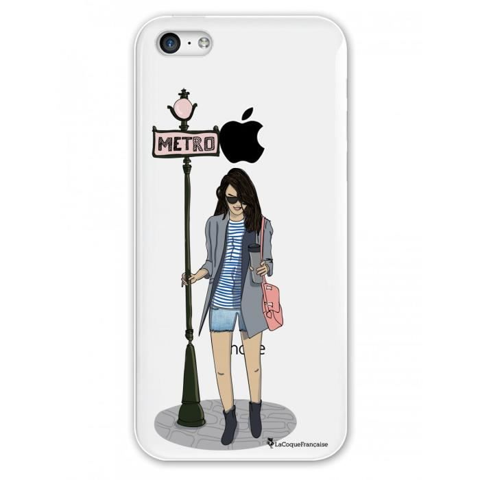 Coque iPhone 5C rigide transparente Fille dans la ville Ecriture Tendance et Design La Coque Francaise