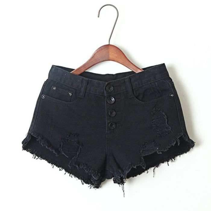 SIMPLE FLAVOR Short femme en jean taille haute avec trois bouton