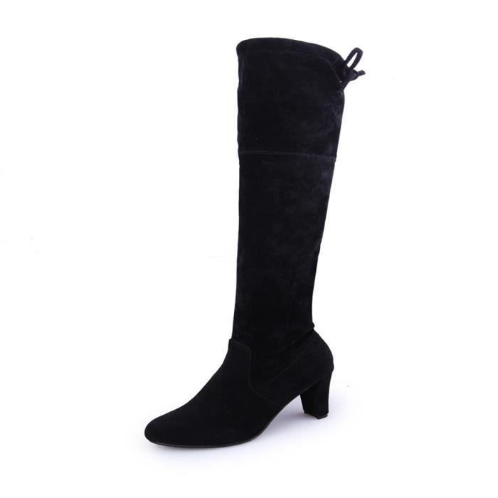 scourse® Femmes Stretch Faux Slim Bottes hautes sur le genou Bottes à talons hauts - Noir