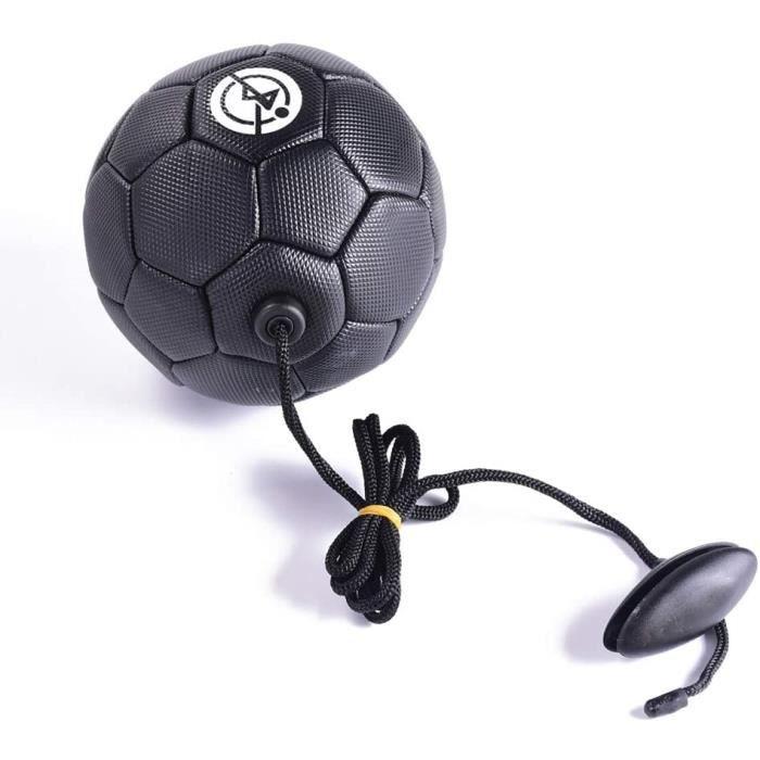 Mini ballon de football noir avec élastique pour apprendre à jongler