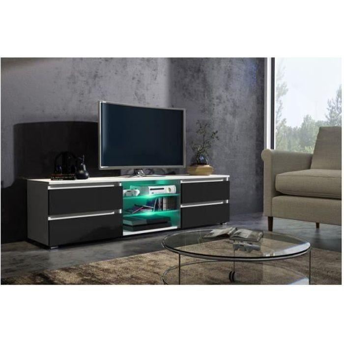 Meuble tv 150 cm blanc mat et façade noir laquée