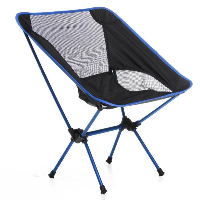 TOPTW Pliable Chaise Fauteuil de Camping Portable Pr Exterieur Barbecue Pique-nique Pêche Max. 150kg bleu fonce
