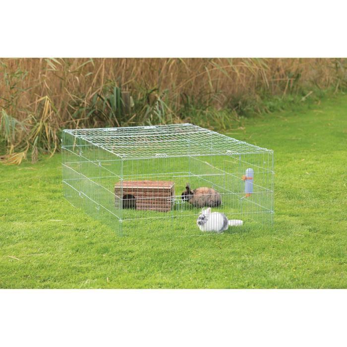 TRIXIE Enclos galvanisé Natura - 180 x 60 x 116 cm - Avec couverture - Pour lapin