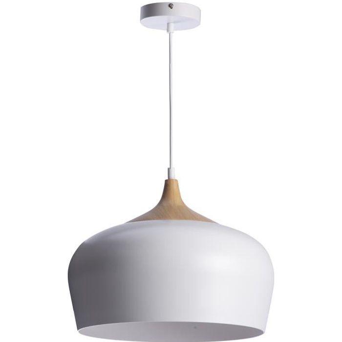 Luminaire suspension style scandinave en bois et métal blanc D 35cm Blanc