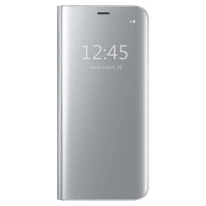 Coque pour Samsung Gaalxy Note 5, Clear View Flip Coque Cover Mince Translucide Miroir Housse - argent