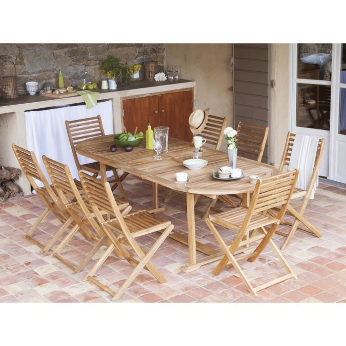 Salon de jardin Acacia FSC couleur teck 8 places : table 180 ...