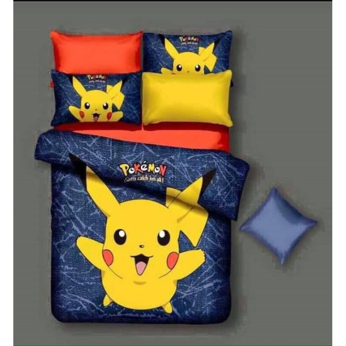 parure de couette parure de lit pikachu pokemon 1 housse. Black Bedroom Furniture Sets. Home Design Ideas