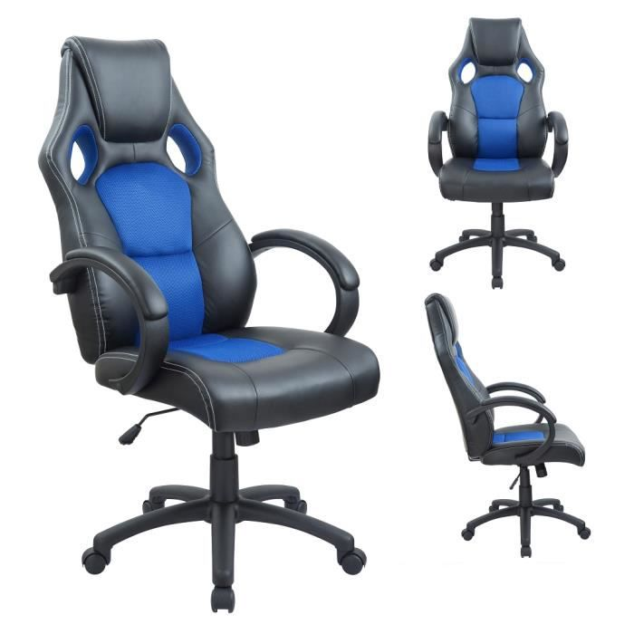 fauteuil siege chaise de bureau ergonomique achat vente chaise de bureau bleu cdiscount. Black Bedroom Furniture Sets. Home Design Ideas