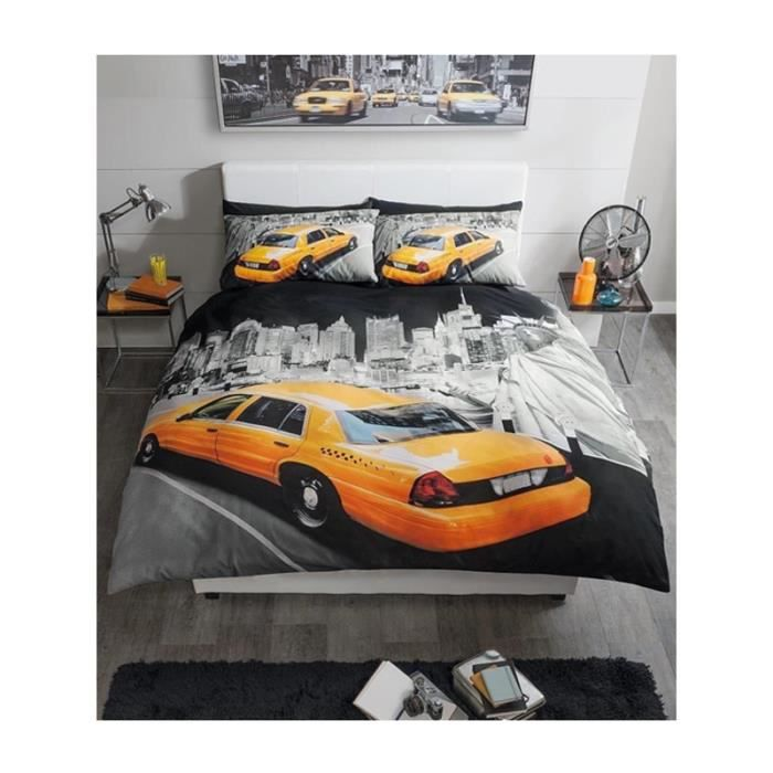 parure de couette new york taxi 2 personnes achat vente housse de couette cdiscount. Black Bedroom Furniture Sets. Home Design Ideas