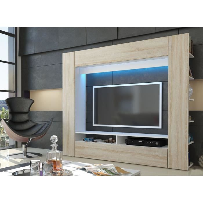 meuble tv mural blanc et bois brut 185 cm achat vente. Black Bedroom Furniture Sets. Home Design Ideas