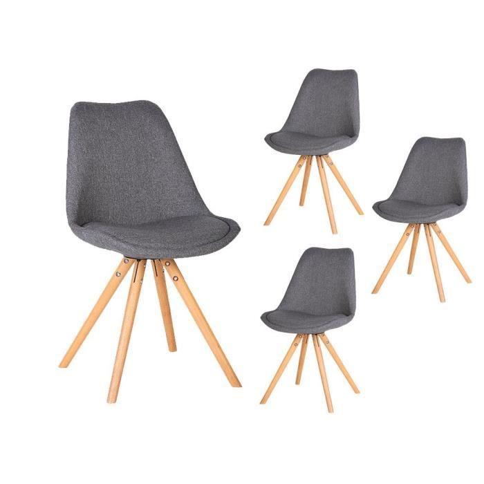 en 4 Lot TALIA foncé gris de avec chaises scandinaves tissu CrdxBoWe