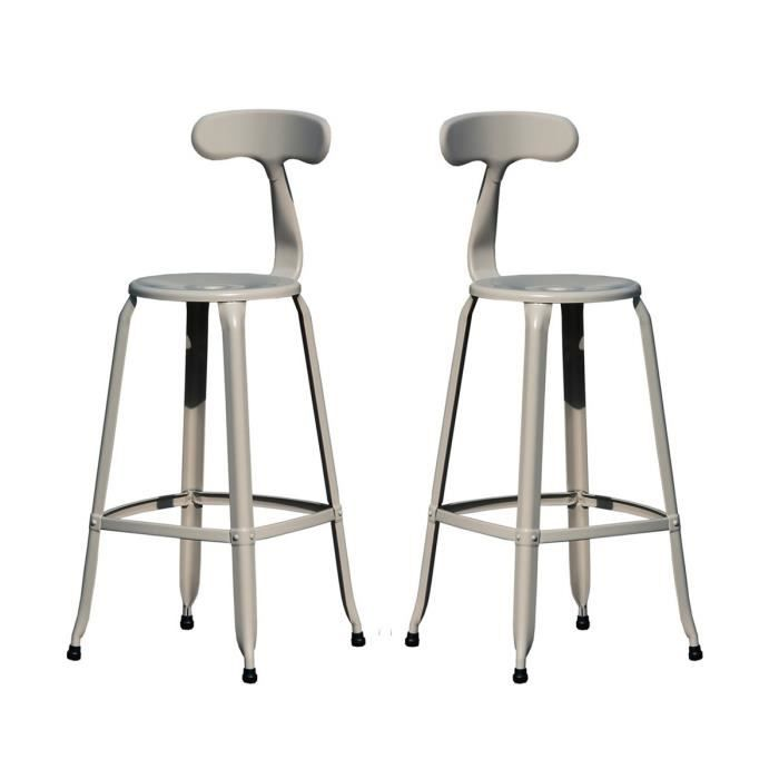 lot de 2 tabourets de bar vintage hugo 75 coule achat vente tabouret gris cdiscount. Black Bedroom Furniture Sets. Home Design Ideas