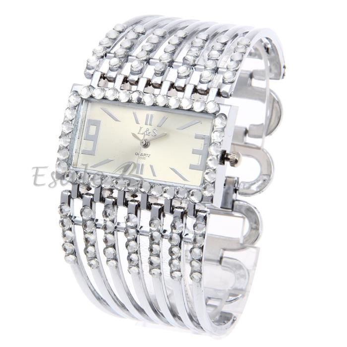 montre quartz bracelet acier inox strass argent cadran rectangle jonc d co femme achat vente. Black Bedroom Furniture Sets. Home Design Ideas