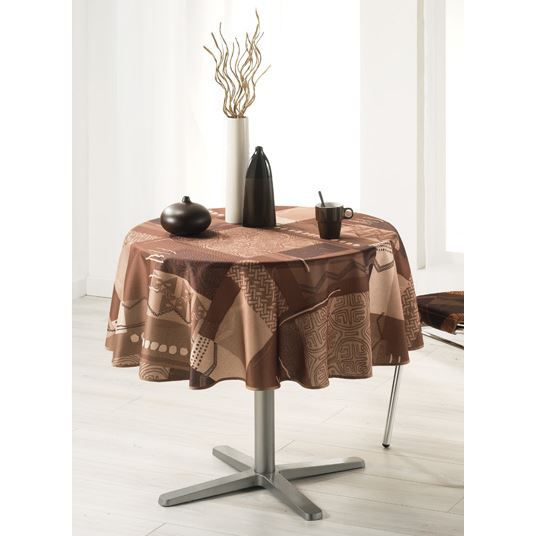 Nappe ronde 180 cm bounty choco achat vente nappe for Nappe papier table ronde