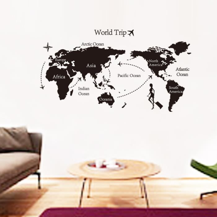 eozy sticker mural amovible dessin carte du monde auto. Black Bedroom Furniture Sets. Home Design Ideas
