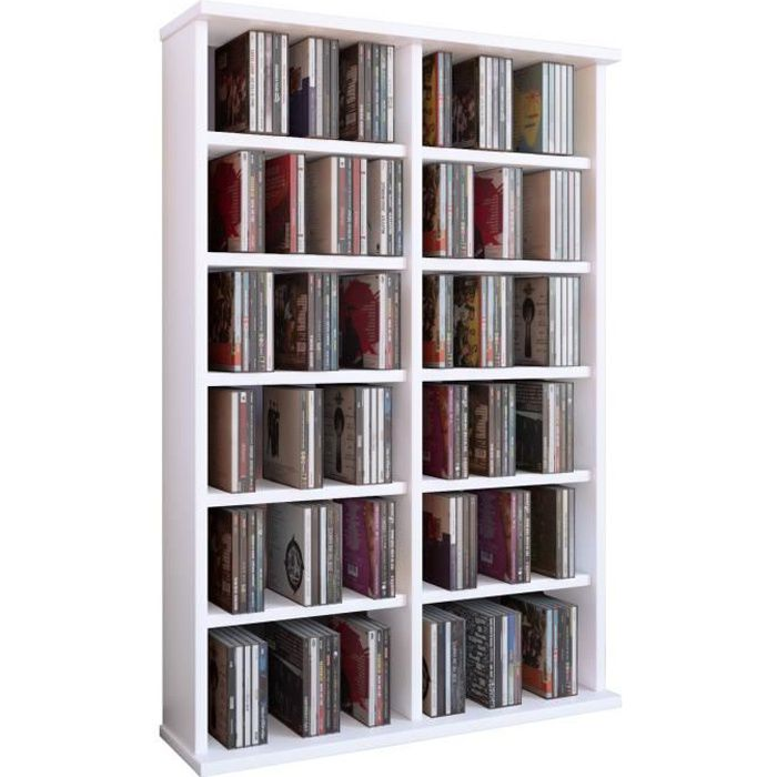 ronul tour rangement biblioth que cd dvd 300 cd sans portes blanc achat vente biblioth que. Black Bedroom Furniture Sets. Home Design Ideas