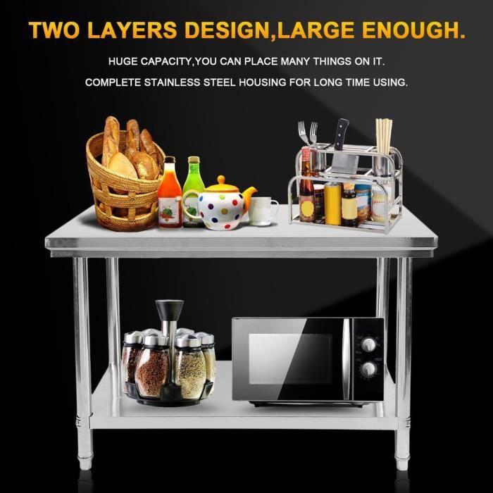 ETABLI - MEUBLE ATELIER  établi de cuisine en acier inoxydable à deux étag
