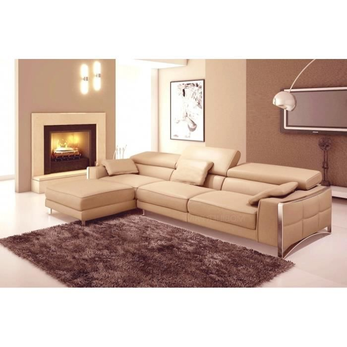 canap d 39 angle en cuir italien 5 places suede beige angle gauche achat vente canap sofa. Black Bedroom Furniture Sets. Home Design Ideas