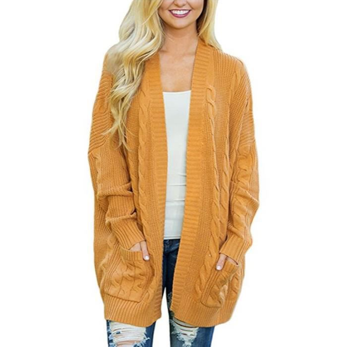 Femmes manches moins Tricot Cardigans Gilet Col V Bouton Cardigan