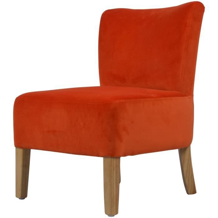 fauteuil velours orange gaby achat vente fauteuil orange cdiscount. Black Bedroom Furniture Sets. Home Design Ideas
