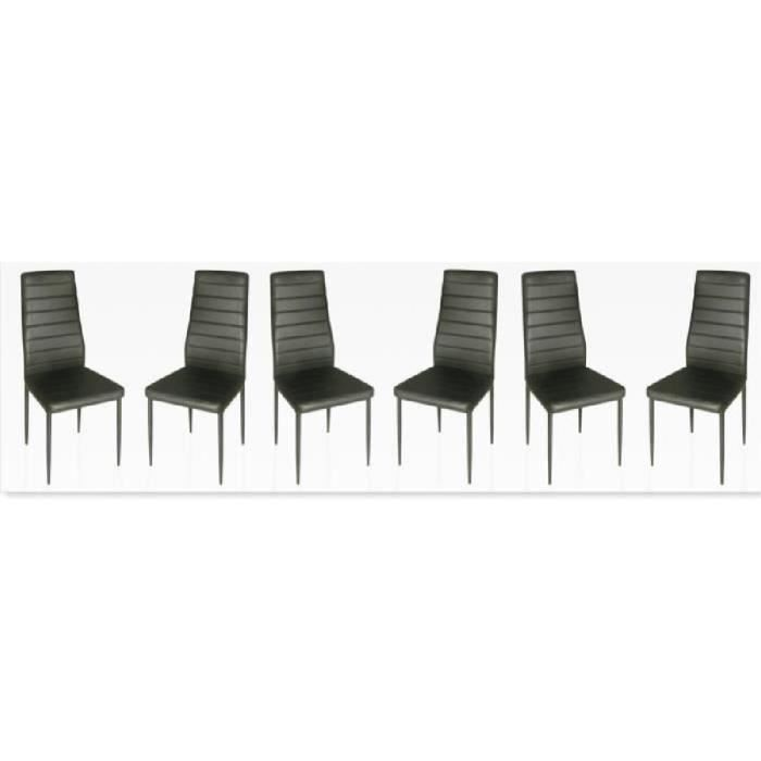 Lot de 6 chaises design noires achat vente chaise for Lot 6 chaises noires