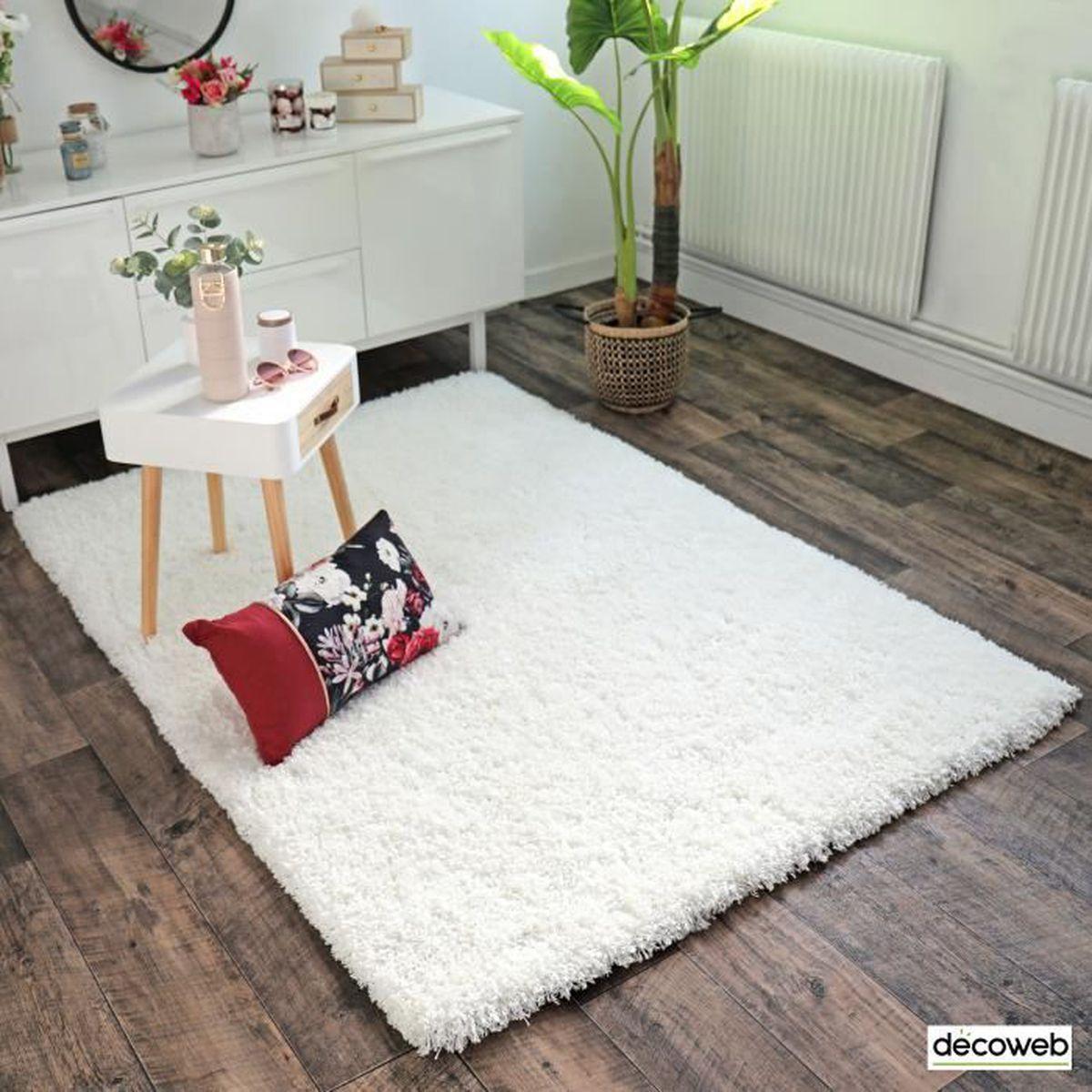 Tapis Long Poil Blanc tapis flocon - shaggy frisé à poils longs - blanc (200x290