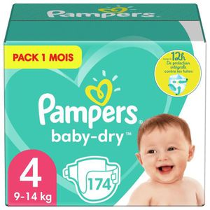 COUCHE PAMPERS Baby-Dry Taille 4, 9-14 kg - 174 Couches -